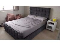 Grey Fabric King Size Bed Frame - no Mattress/bedding included - Good condition cheap