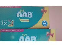 Aab nappies box of 48 only sizes 4 and 5 left