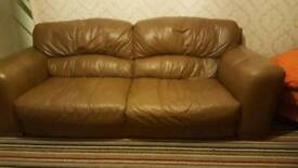 Dfs Brown Leather Sofas 3 and 2