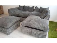 Grey Cord Sofa with Footstool