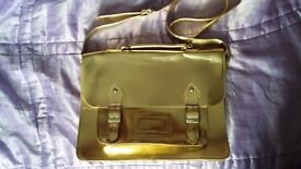 Womens/ Ladies Gold Satchel shoulder bag retro school bag style Never used - just stored