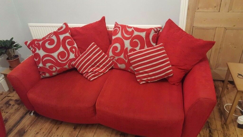 Red and silver sofa- great condition