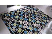 Jeff Banks Sorrento Forest (Black / Blue / Green) wool rug 170x240cm