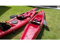 2 x Sea Kayaks - with paddles and life jackets