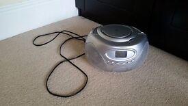 Portable CD Boombox, Silver Colour