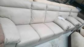 Real leather cream 3+1+1 seater sofa