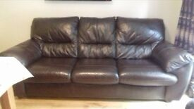 DFS 3 seater dark brown leather sofa Immaculate 210 cms long