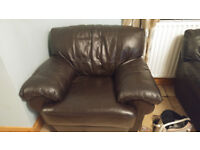 1 and 2 Seater Sofa Brown Leather Free for Collection