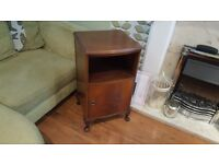 Vintage Retro Bedside Table Side Table Bathroom Cabinet Queen Anne Feet