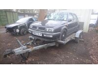 Car transporter trailer twin wheel base winch tilt bed