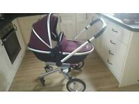 Silver cross baby car seat, carrycot and pram set