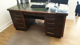 1920's Bankers desk + 2 x single desks + 2 chairs