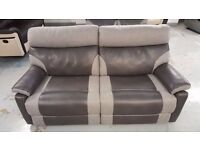 BRAND NEW ScS RALPH GREY TWO TONE 3 SEATER MANUAL RECLINER SOFA **CAN DELIVER**