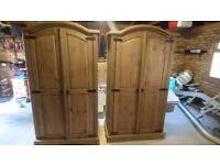 2 Solid wood wardrobes in dark pine
