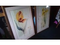 FOR SALE - 2 Large watercolour flower painitings
