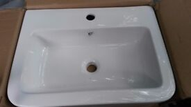square bathroom sink - white 570mm x 440mm x170mm Approx. new in box (box damaged) good condition