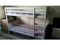Hardly used bunk beds & mattresses