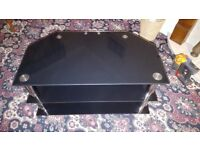 Black Glass TV Stand - Excellent Condition