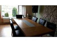 Oak/ glass dining table, 6 chairs, lamp table, vgc. sideboard free (broken but should be fixable)