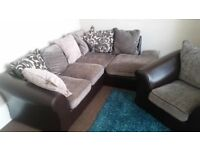 Left hand corner sofa with chair
