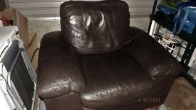 genuine large dark Brown leather chair
