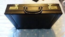 Vintage FRANZEN Serie 2100 Top Grain Leather Black Briefcase Suede Lined MINT