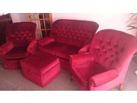 Set of two armchairs, sofa, and footstool