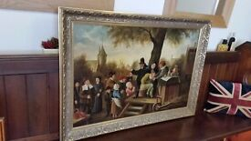 large antique oil painting, 19th century Dutch