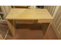 Ikea birch effect computer desk with drawer for sale £20