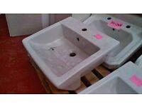 Semi-recessed basin 510 x 460 x 160mm