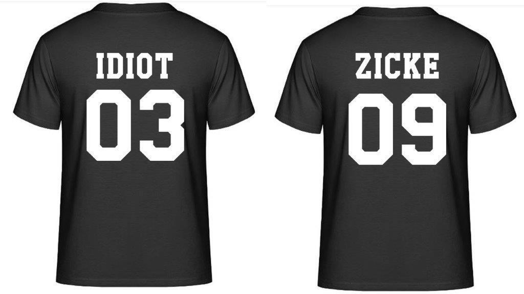Partner T-Shirts - Idiot & Zicke