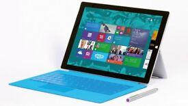 "Microsoft Surface Pro 3 12"" screen i5 8GB 256GB 1.9GHz Windows 10 Pro keyboard"