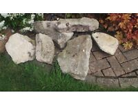 SIX ASSORTED ROCKERY STONES