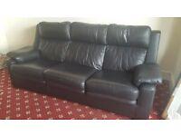 3 seater black john lewis leather sofa