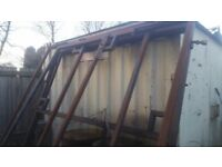 2 sets of solid steel gate frames 16x7 ft approx