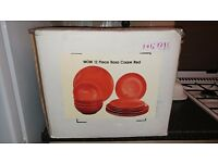Red Crockery set 12 piece brand new