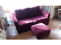 'OakRidge' Purple Sofabed and 2nd Sofa and foot stool for sale. £150 (buyer collects)