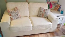 Dfs Real leather cream sofabed!! Very good con!!