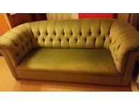 Gorgeous Green material velour type Chesterfield Three Seater Sofa in great clean condition