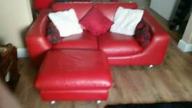 Marrinelli italian red leather 3 seater sofa with large matching foot stool .