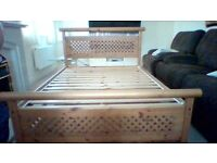 pine oak antique double bed with six months old Silentnight mattress