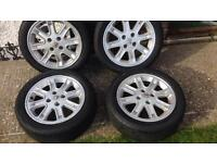 Peugeot alloy wheels 17inch with nearly new tyres