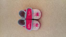 Girls peppa pig slippers, size 5