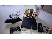 XBox 360 (Slim Black Edition) With 250GB. Immaculate Original Box & With Kinect Controller & Games.