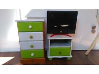 """Set of chest of drawer, bedside cabinet, Acer 20"""" LCD TV, computer screen, Free View TV box extra"""