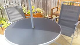 Stylish Grey 4 Seater Patio Furniture Set - (New) Chairs, Parasol.. Table.