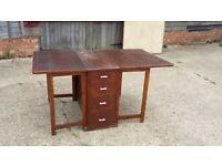Vintage Utility Oak Drop Leaf Table Worktop Surface 8 Drawers.