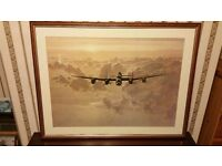 Large framed WW11 aeroplane print . in the clouds