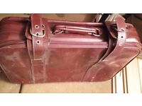 Vintage faux leather used suitcase (ideal for exhibition decoration)