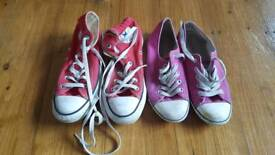 Converse shoes and boots. Both a size 4